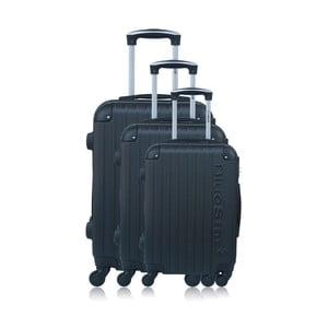 Sada 3 čiernych kufrov na kolieskach Blue Star Bucarest