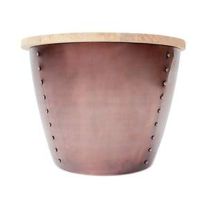 Príručný stolík v medenej farbe s doskou z mangového dreva LABEL51 Indi, Ø60 cm