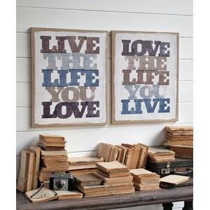 Sada 2 nástenných dekorácií Live Life Love