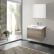 Kúpeľňová skrinka s umývadlom a zrkadlom Flopy, dekor dubu, 60 cm