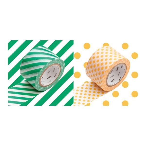 Sada 2 washi pások Rayé Green Apricot
