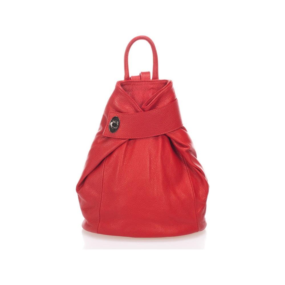 Červený kožený batoh Lisa Minardi Narni