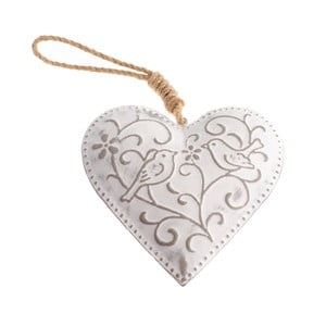 Závesná kovová dekorácia v tvare srdca Dakls Birds