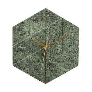 Zelené hodiny Present Time Marble Hexagon