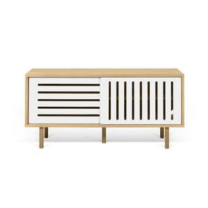 TV komoda v dekore dubového dreva s bielymi detailmi TemaHome Dann Stripes, dĺžka 135 cm