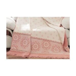 Bielo-ružová deka s prímesou bavlny Aksu Sweety, 200 × 150 cm