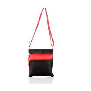 Čierno-červená kožená kabelka Glorious Black Tama