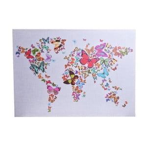 Plátená mapa sveta s motívom motýľov Ewax Butterfly, 50 x 70 cm