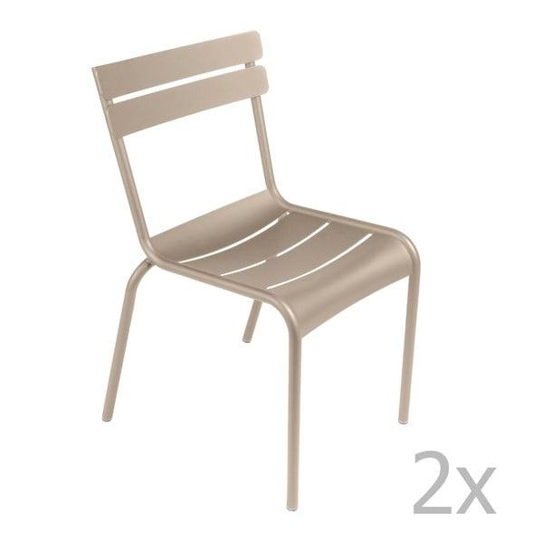 Sada 2 svetlobéžových stoličiek Fermob Luxembourg
