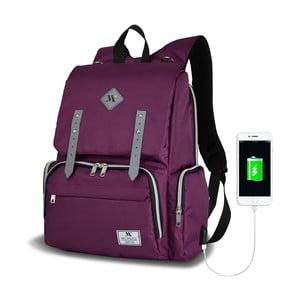 Fialový batoh pre mamičky s USB portom My Valice MOTHER STAR Baby Care Backpack