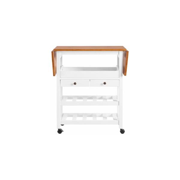 Biely rozkladací kuchynský vozík z borovicového dreva Støraa Nemo