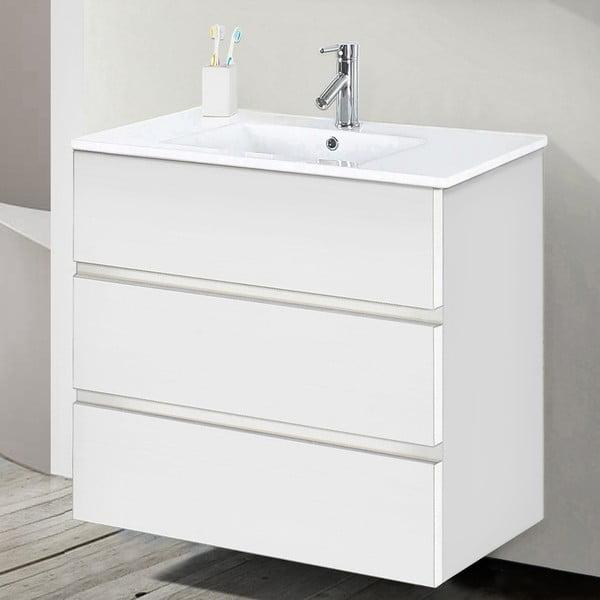 Kúpeľňová skrinka s umývadlom a zrkadlom Nayade, odtieň bielej, 70 cm
