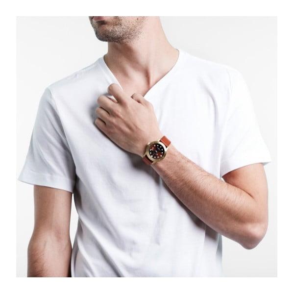 Unisex hodinky s hnedým koženým remienkom Triwa Chestnut Hvalen Brown Sewn