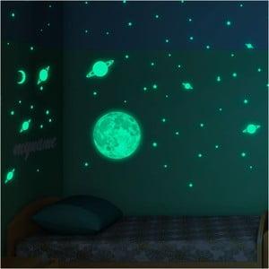 Sada nástenných detských svietiacich samolepiek Ambiance Moon Small Stars and Planets