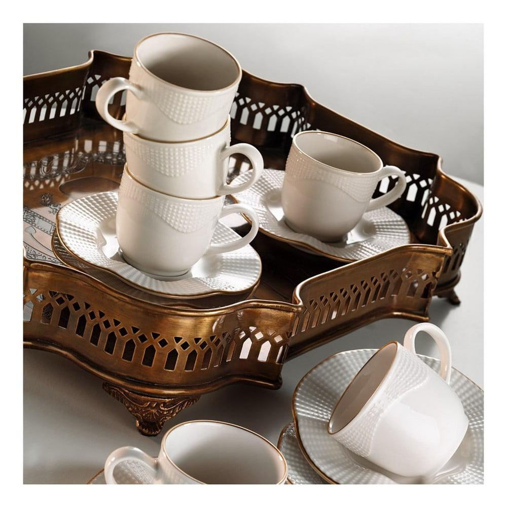 Sada 6 porcelánových šálok s podšálkami Kutahya India