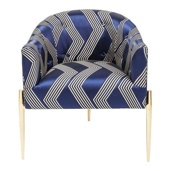 Modré kreslo so zlatými nohami Kare Design Kimono