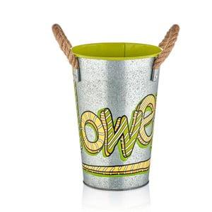 Kovová váza so zeleným detailom The Mia Fower, výška 30 cm
