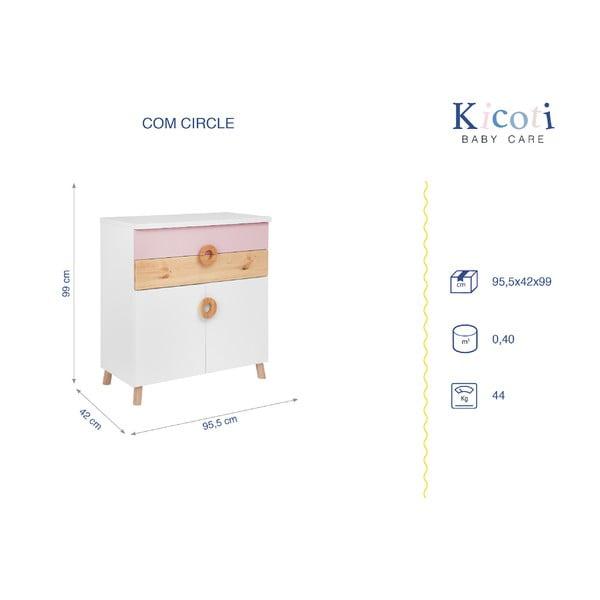 Ružovo-biela komoda KICOTI Circle