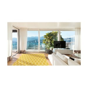 Žltý vysokoodolný koberec vhodný do exteriéru Floorita Trellis, 133×190 cm