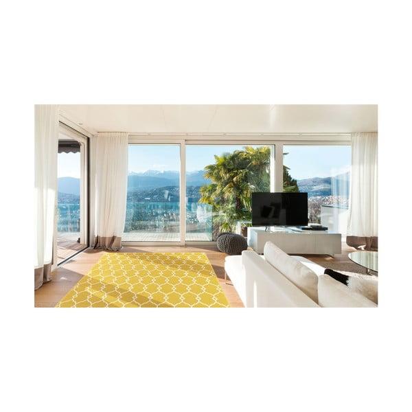 Žltý vysokoodolný koberec vhodný do exteriéru Floorita Trellis, 160×230 cm