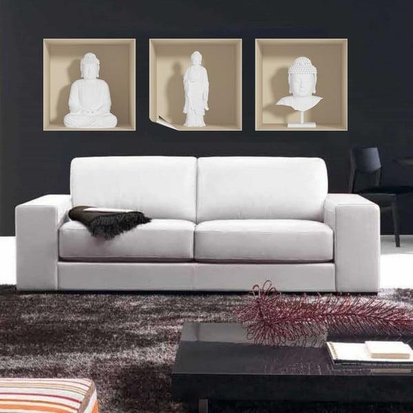 Sada 3 samolepiek s 3D efektom Ambiance White Buddha