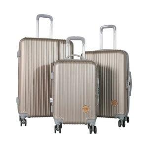 Sada 3 cestovných kufrov na kolieskách vo farbe tmavé šampaň Travel World Emilia