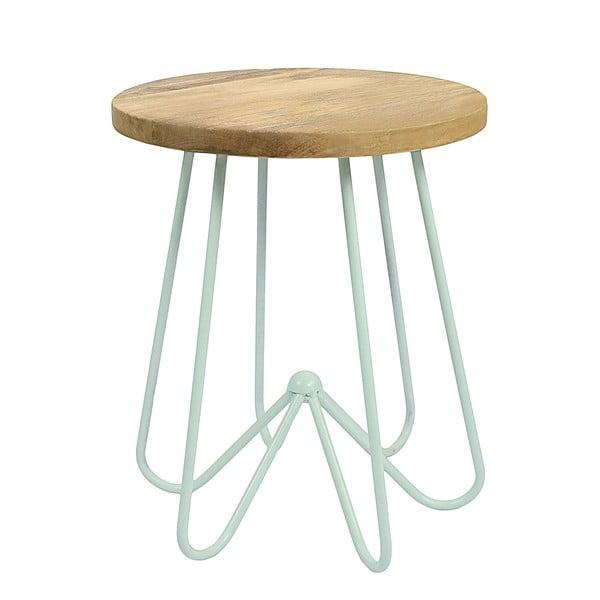 Svetlozelený stolík s doskou zmangového dreva HF Living Round
