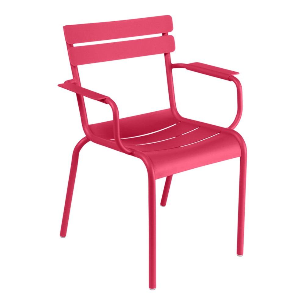 Ružová záhradná stolička s opierkami Fermob Luxembourg