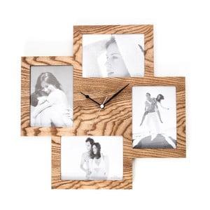 Drevené nástenné hodiny s fotorámikom Tomasucci Collage