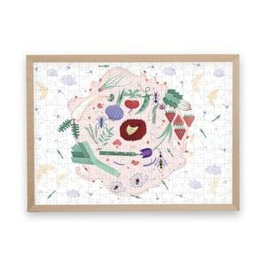 Puzzle z recyklovaných materiálov v bukovom ráme Pucle Jarná záhrada, 200 dielikov