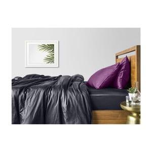 Sivo-fialové bavlnené obliečky na dvojlôžko so sivou plachtou COSAS Muno, 200×220cm