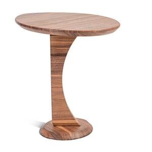 Príručný stolík z masívneho orechového dreva Charlie Pommier Ellipse