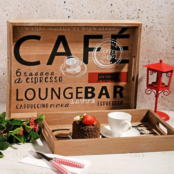 Sada 2 drevených tácok Café Bar