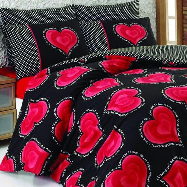 Bavlnené obliečky s plachtou Hearts, 200x220cm