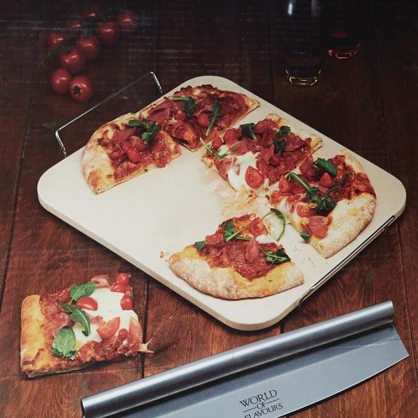 Tácka s krájačom na pizzu Kitchen Craft Italia, 37x30 cm