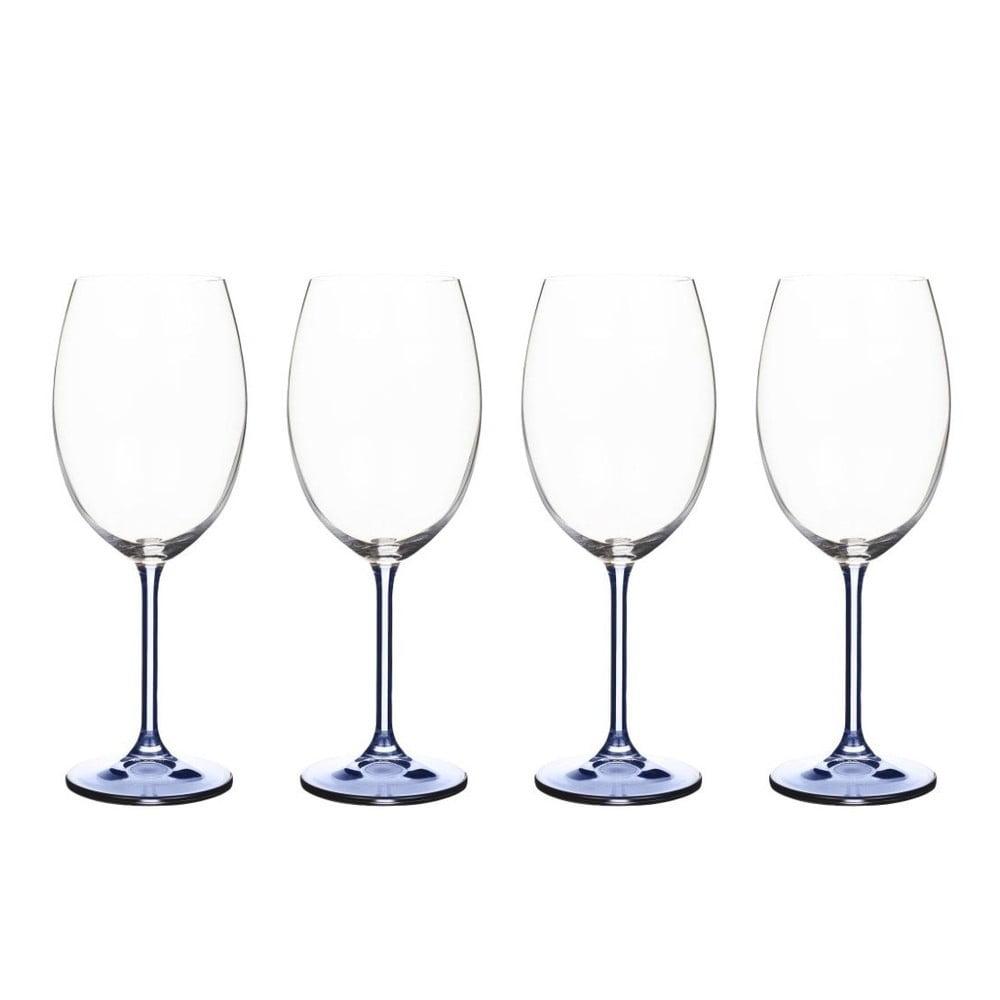 Sada 4 pohárov na víno z modrého krištáľového skla Bitz Fluidum, 450 ml