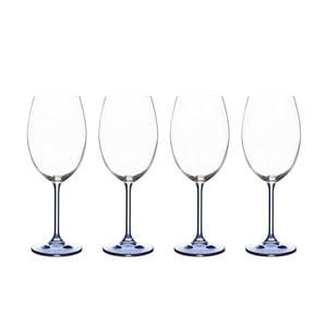 Sada 4 pohárov na víno zo modrého krištáľového skla Bitz Fluidum, 450 ml