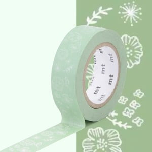 Zelená washi páska MT Masking Tape Wild Flower