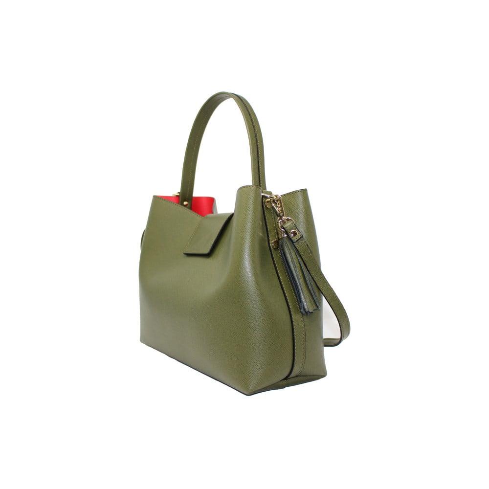 c50b891f71 ... Zelená kožená kabelka Lampoo Tandora ...