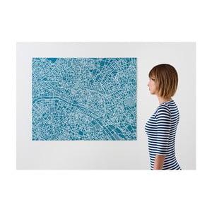 Modrá nástenná mapa Palomar Pin Paríž
