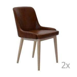 Sada 2 hnedých kožených jedálenských stoličiek RGE Edgar