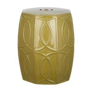 Zelený keramický odkladací stolík vhodný do exteriéru Safavieh Fiona