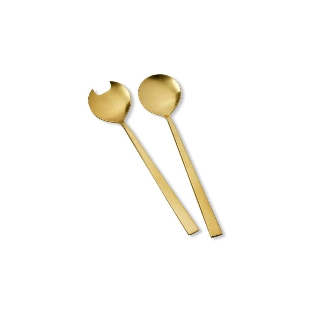 Sada servírovacieho šalátového riadu v zlatej farbe Bitz Brass