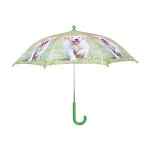 Svetlozelený dáždnik s potlačou šteniatka Esschert Design Animals