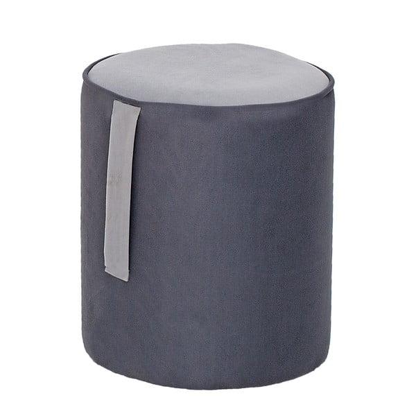Guľatý puf Ghina, sivý so sivým detailom
