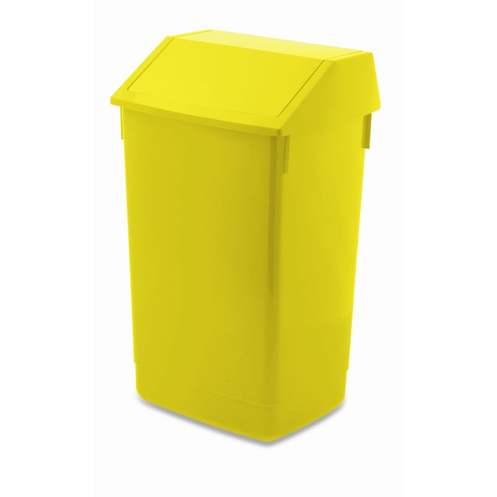 Žltý odpadkový kôš s vyklápacím vrchnákom Addis, 41 x 33,5 x 68 cm