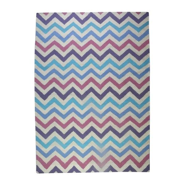 Vlnený koberec Geometry Zic Zac Pink Mix, 160x230 cm