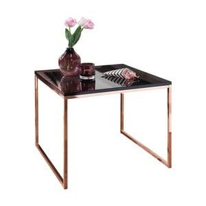 Čierny konferenčný stôl s nohami v medenej farbe Skyport Riva, výška 50 cm