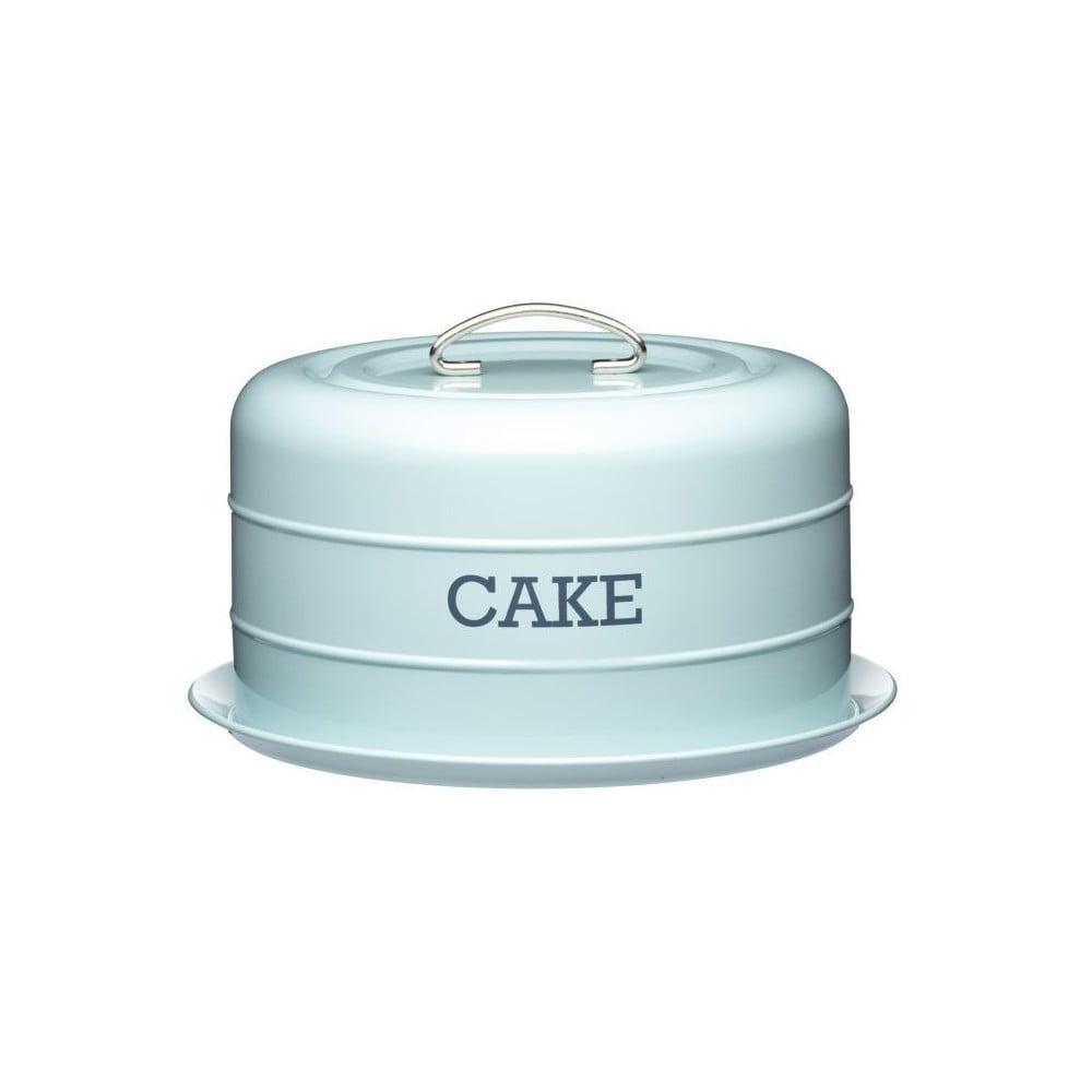 Modrá plechová dóza na koláč Kitchen Craft Nostalgia, ⌀ 28,5 cm