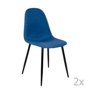 Sada 2 modrých stoličiek s čiernymi nohami House Nordic Štokholm